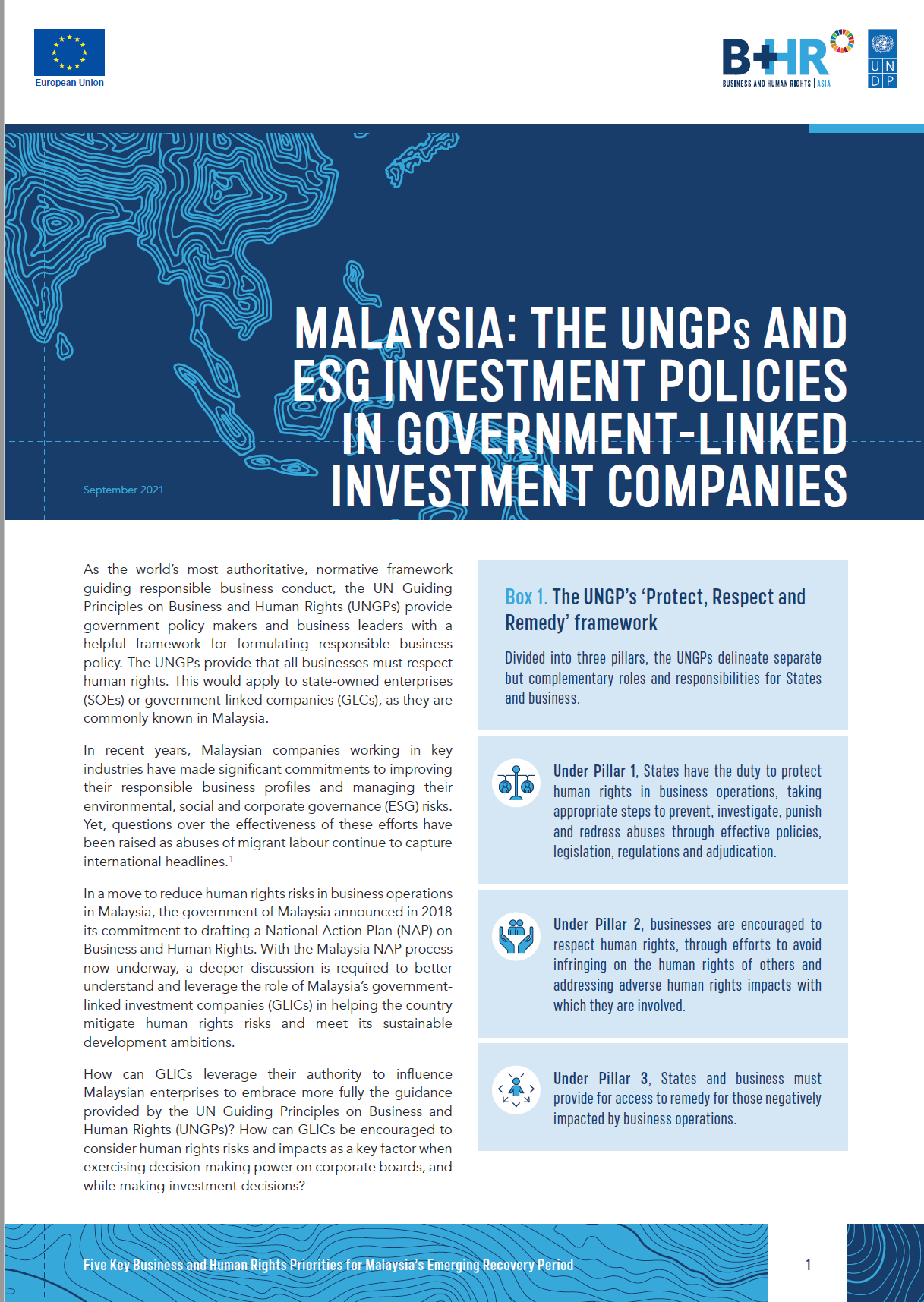 Issue Brief: Malaysia: The UNGPs And ESG Investment Policies in Government-linked Investment Companies